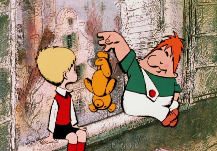 Кадр из мультфильма про Карлсона и Малыша
